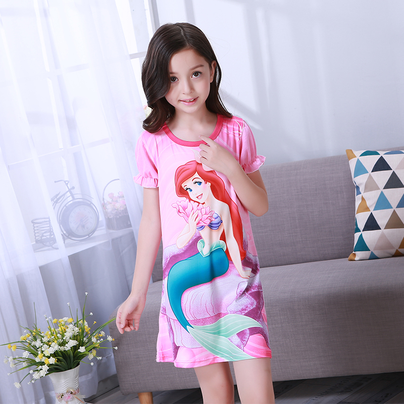 Girls Princess Night Gown Summer Short Sleeve Nightgown Kids Lovely Nightdress Cute Cartoon Child  Baby Sleeping Dress 2-12y(China)