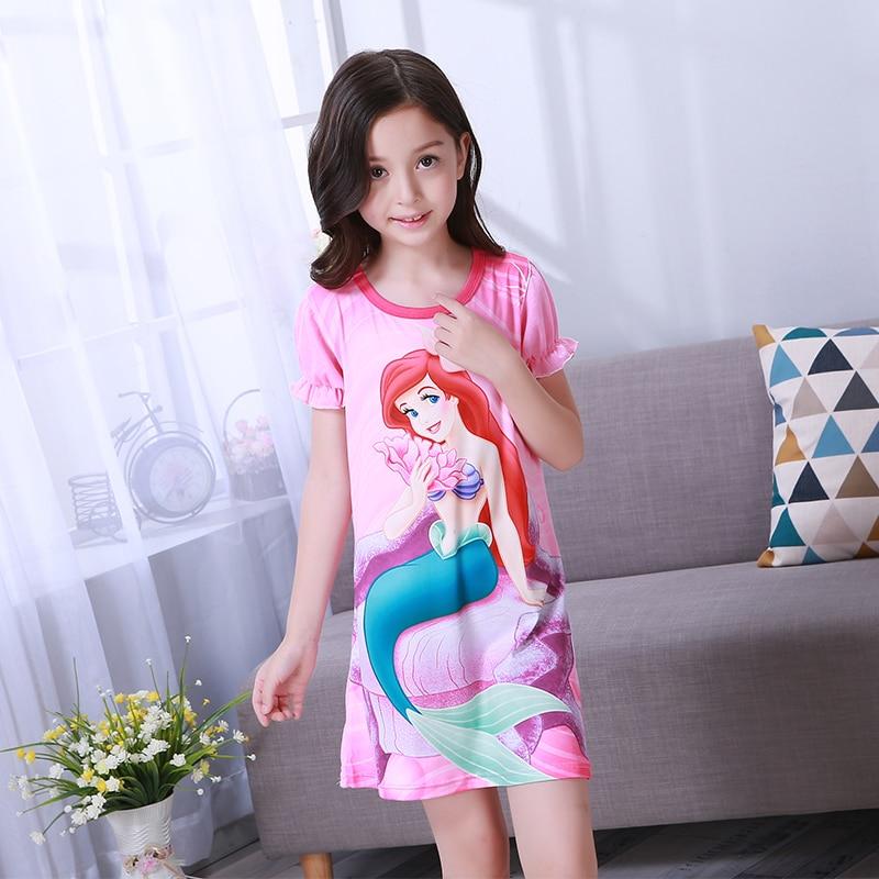 Obligatorisch Mädchen Prinzessin Nacht Kleid Sommer Kurzarm Nachthemd Kinder Schöne Nachthemd Nette Cartoon Kind Baby Schlafen Kleid 2-12y