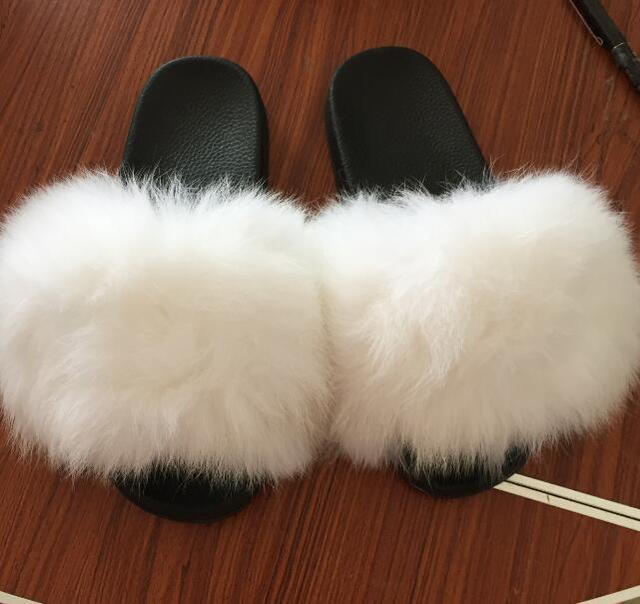 824aaabeac86 Товар Women Fur Slippers Luxury Real Fox Fur Beach Sandal Shoes ...