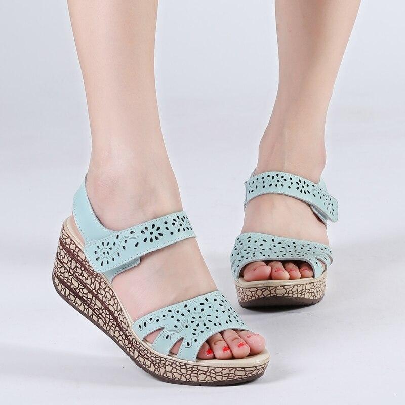 Летние женские туфли женские клинья сандалии кожа платформа рыбий рот открытым peep toe высокие каблуки Полые отверстие обувь sandalias mujer