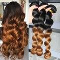 Ломбер Бразильский Девственные Волосы Свободная Волна 2 Тона Ломбер Человеческих Волос Weave 4 Связки Бразильских Волос Свободная Волна Ломбер Бордовый блондинка