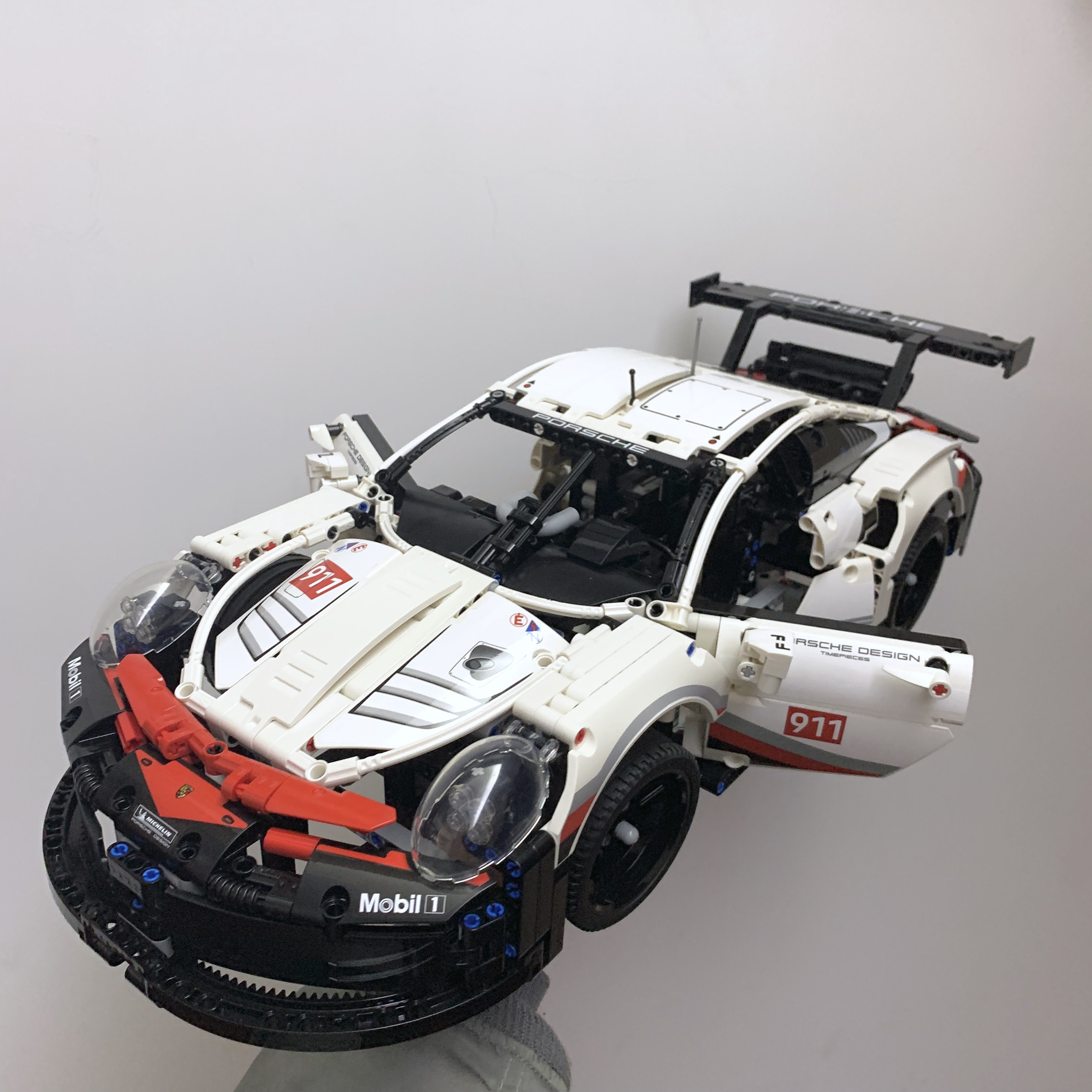 The Technic series White Super Racing Car 20097 fit legaoings 42096 city Model kits Building Blocks
