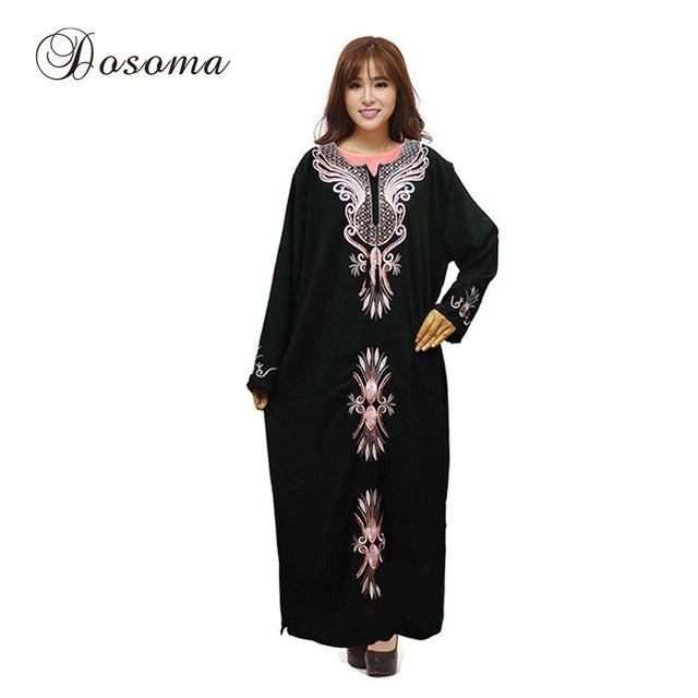 7ff88b099252a Musulman Broderie Maxi Dress Femmes Indien Manches Abaya Islamique Perles  Robe Robe Kimono Turquie Instant Hijab