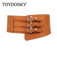 TOYOOSKY Fashion PU Leather Belt for Woman Wide Corset Leopard Waistband Womens Rivets Elastic Women Belts Dress
