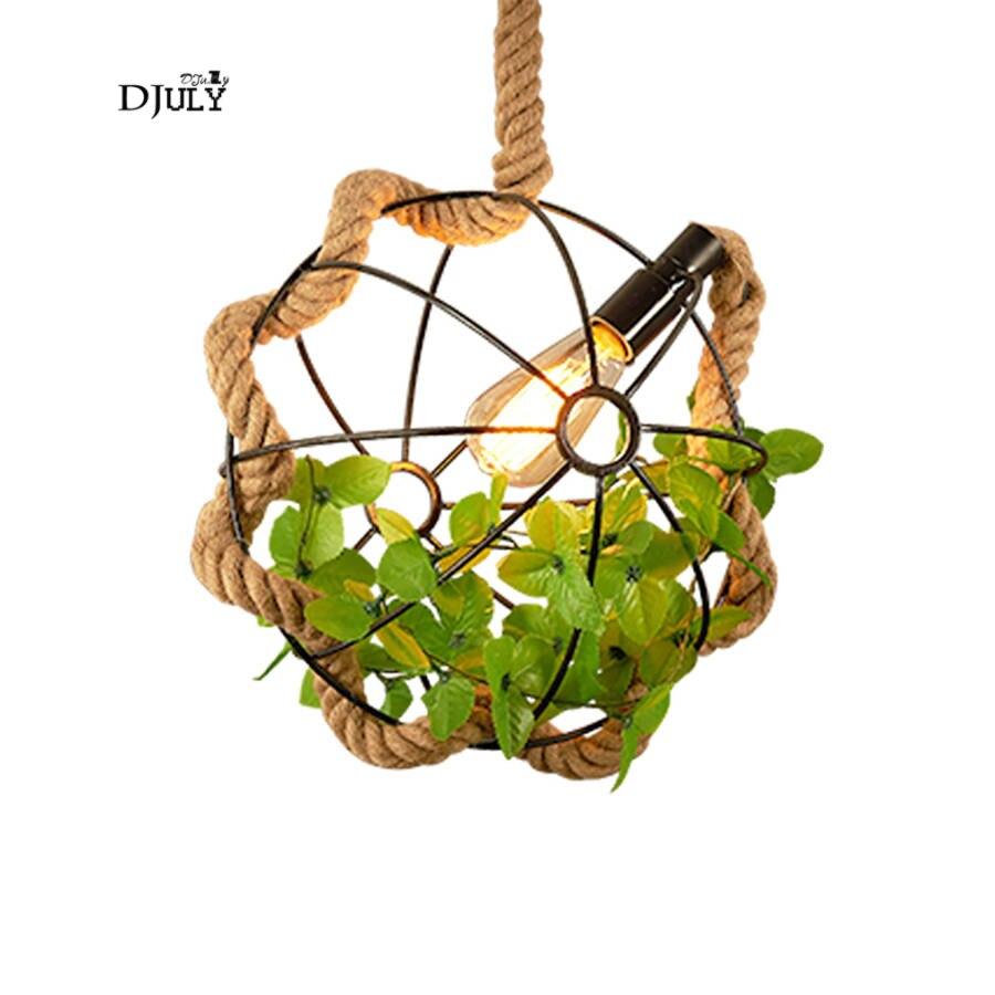 Américain pays plantes Artificielles fer cage chanvre corde pendentif lumières pour bar salle à manger accrocher lampe loft décor lampe industrielle