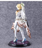 22cm Japanese Anime Figure Sexy Fate Stay Night Wedding Dress Saber Figure Doll Collectible Model Kids