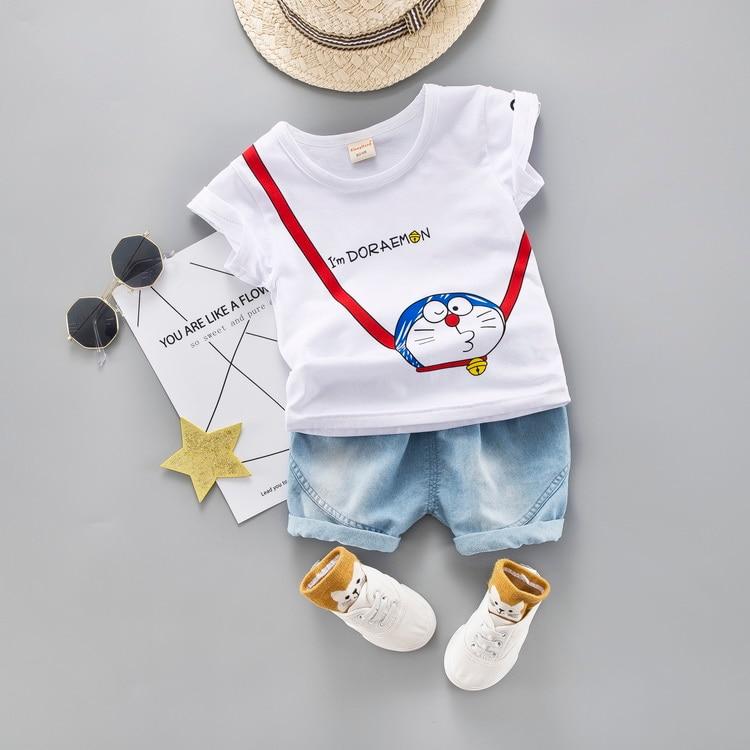 Cartoon Toddler Boy Clothes Summer Set 2 Color T Shirt Short Jeans Children Clothing Short Sleeve Shirt Boys Suit Baby Tracksuit 3