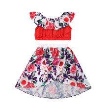2019 Toddler Kid Baby Girl Floral Dress Outfit Crop Tops Long Skirt Party Beach Casual Summer Baby Girls Clothes Set new toddler baby girl party pageant pu leather pencil skirt zipper biker skirt kid girls skirts clothes