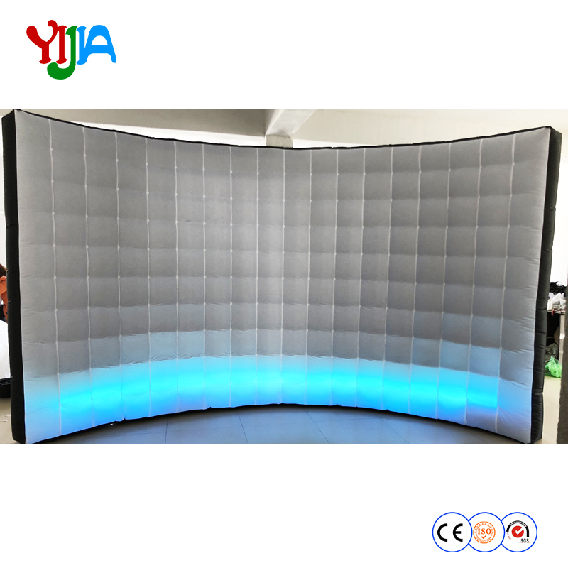 DHL Popular Custom 4m Long Inflatable LED Wall Photo booth backdrop with LED strips bottom LED