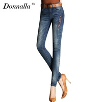 Donnalla Women Jeans Autumn Style Mid Waist Skinny Jeans Female Deep Blue Denim Pants Women Sexy