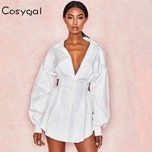 COSYGAL Vestido corto informal de otoño para mujer, minivestido blanco Sexy con cordones, ropa de calle, ropa de invierno, 2019