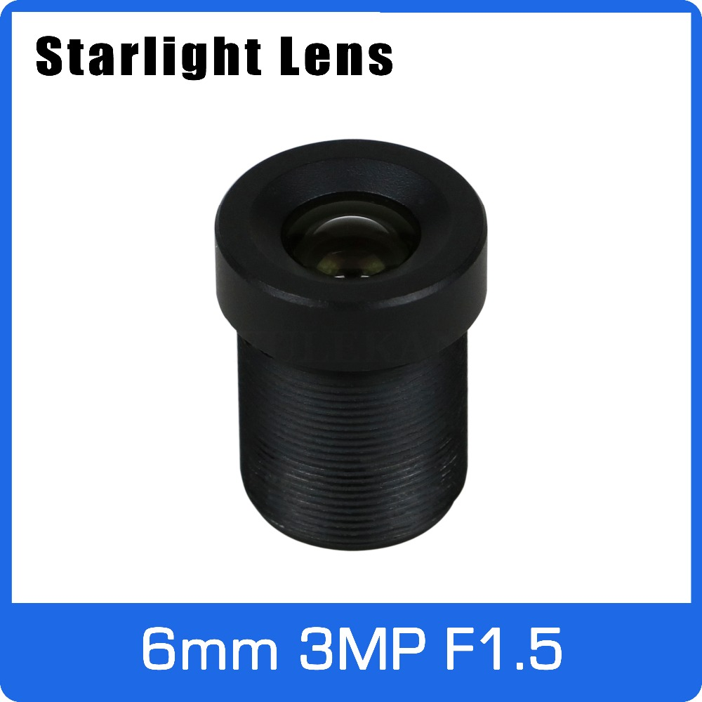 Starlight Lens 3MP 6mm Fixed Aperture F1.5 For SONY IMX290/IMX291 Low Light CCTV AHD Camera IP Camera Free Shipping 6mm 3mp f1 2 1 2 5 inch sony imx290 imx291 lens for 1080p 3mp ultra low light ip camera cctv camera free shipping