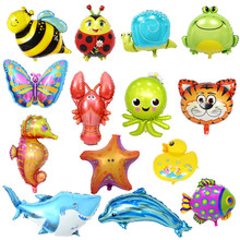 Childrens Toy 32 types Large Cartoon Animal Foil Balloons Butterfly Ladybug Fish Tiger Ballons for Kids Birthday Party Decor