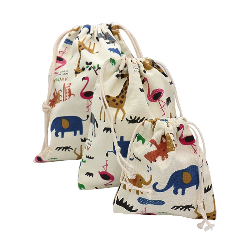 Cartoon Animals Printed Storage Bags Baby Clothing Kids Toys Organizer Drawstring Candy Bags Cotton Jewelry Cosmetic Pouch