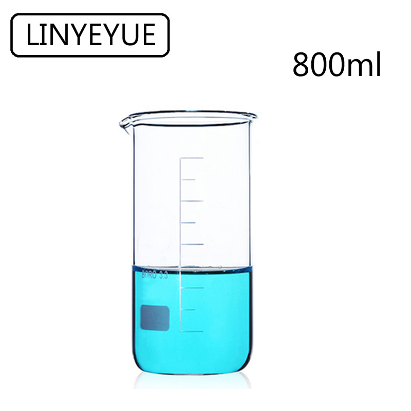 LINYEYUE 800mL Glass Beaker Tall Form Borosilicate Glass High Temperature Resistance Measuring Cup Beaker Laboratory Equipment