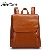Genuine Leather Backpacks Women 2017 Vintage School Backpack Bags For Teenage Girls Fashion Female Laptop Bag