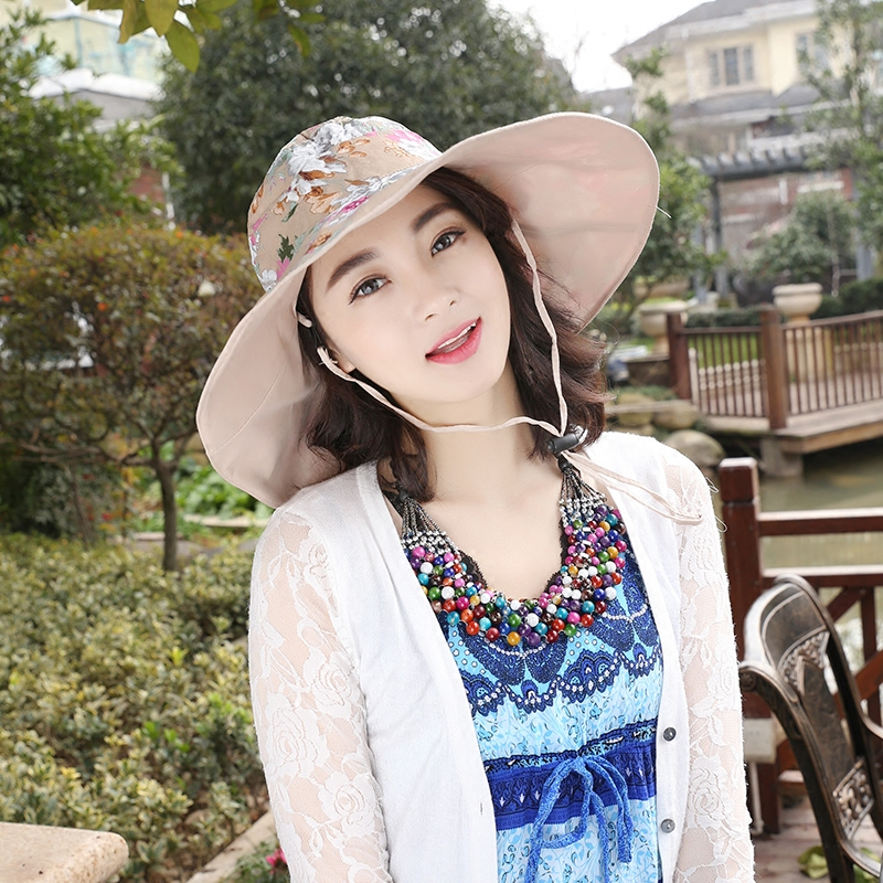 5c7444ded32 2016 New Summer Women Bucket Hat Chapeau Fashion Wide Brim Sun Protection  Printed Floral Hat Sunbonnet Beach Cap B 2334-in Sun Hats from Women s  Clothing   ...