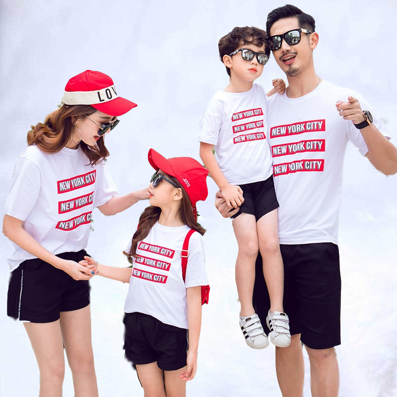 2019 Family Matching Clothing with Three Populations and Four Mothers and Daughters Pure Cotton Short sleeved Suit