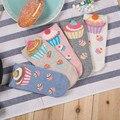British Style Sweat Women Cartoon Ice Cream Punk Ankle Socks Comfort Film Food 3D Cake Fluffy Korean Simple Ladies Slipper Socks