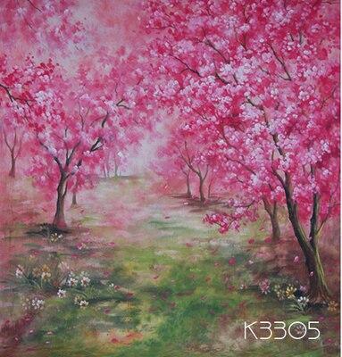 10x10ft ручная роспись Весна живописные муслин фон, красный цветок фотографии фонов свадебные, таможенной службы K3305