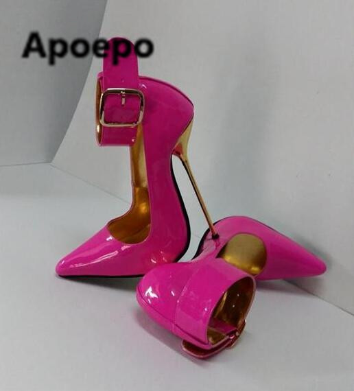 Apoepo brand sexy women pumps plus size metal decor thin heels high heels pumps shoes buckle strap Patent leather ladies shoes luxury brand crystal patent leather sandals women high heels thick heel women shoes with heels wedding shoes ladies silver pumps