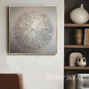 Image 3 - Artista de la pintura al óleo especial pintado a mano, cuchillo de plata de alta calidad, pintura al óleo gruesa, pintura al óleo moderna abstracta de plata gris