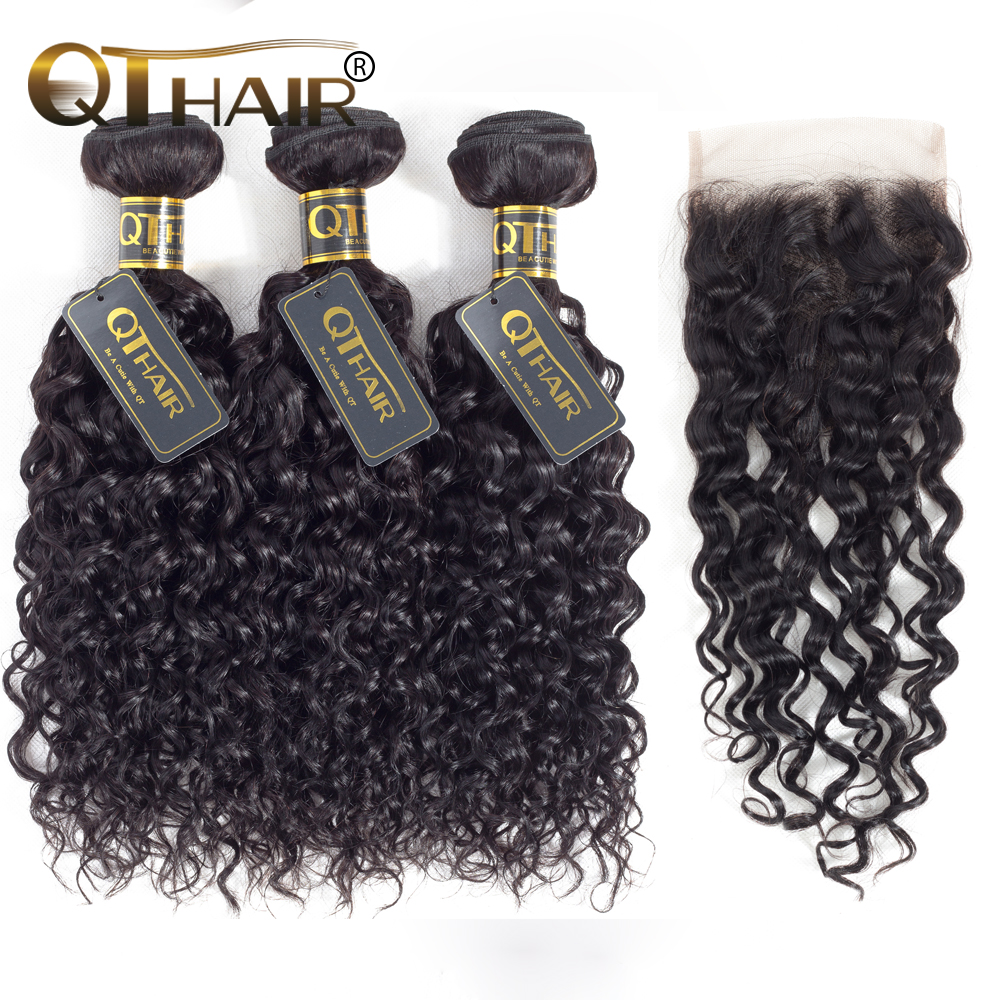 QT Hair Peruvian Water Wave Human Hair Bundles With Closure Remy Hair 3/4 Bundles With Closure Free Shipping
