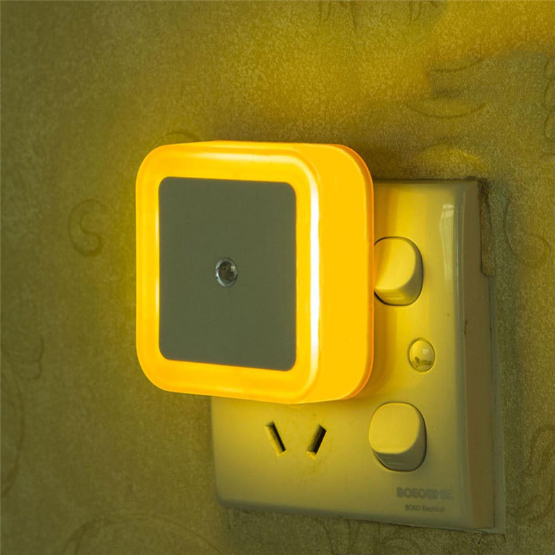 Image 3 - Mini LED Night Light Sensor Control EU /US /UK Plug Square Bedroom Wall Lamp For Baby Child Gift Romantic Colorful Lights Decor-in LED Night Lights from Lights & Lighting