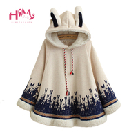 Autumn Winter Women Jacket Japanese Style Mori Girl Cute Cartoon Rabbit Ear Loose Hooded Cape Coat