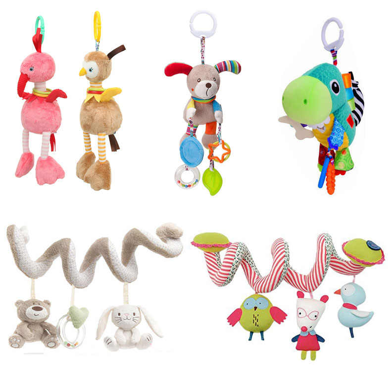 Soft Infant Crib Bed Stroller Spiral Toy Textured Mobile rattles Hanging Animal Plush Toys Newborns educational Car Seat Towel