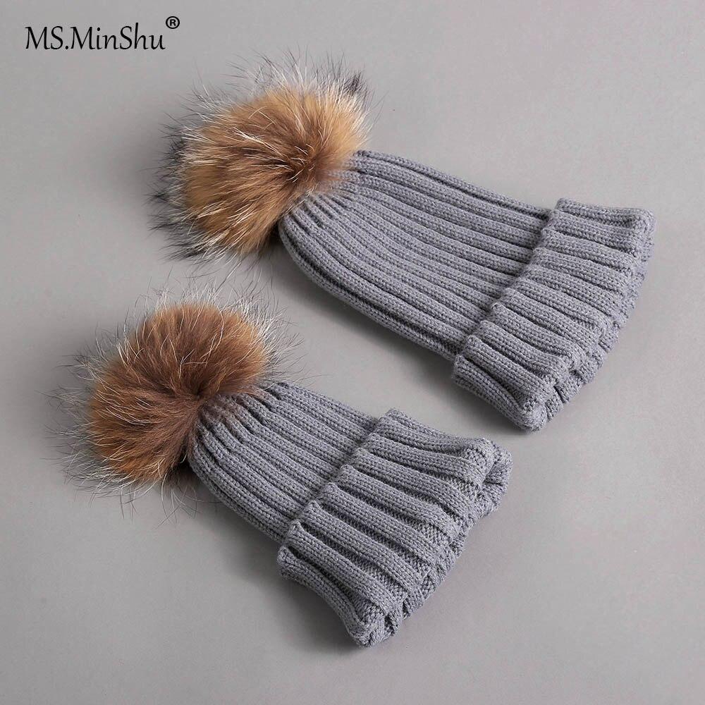 Шапка MS. MinShu с меховым помпоном, меховая шапка для родителей и детей, шапка с помпоном из лисьего меха, зимние шапки с помпоном из настоящего