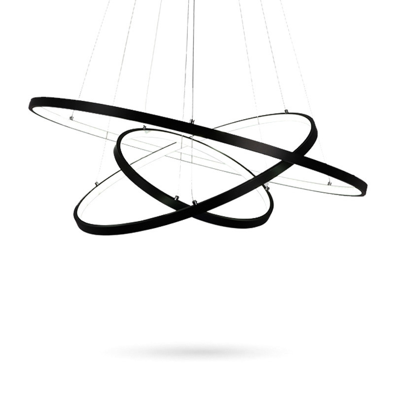 Black Circle Rings Modern Pendant Lights For Dining Living Dining Room Restaurant Decoration Acrylic Home Hanging
