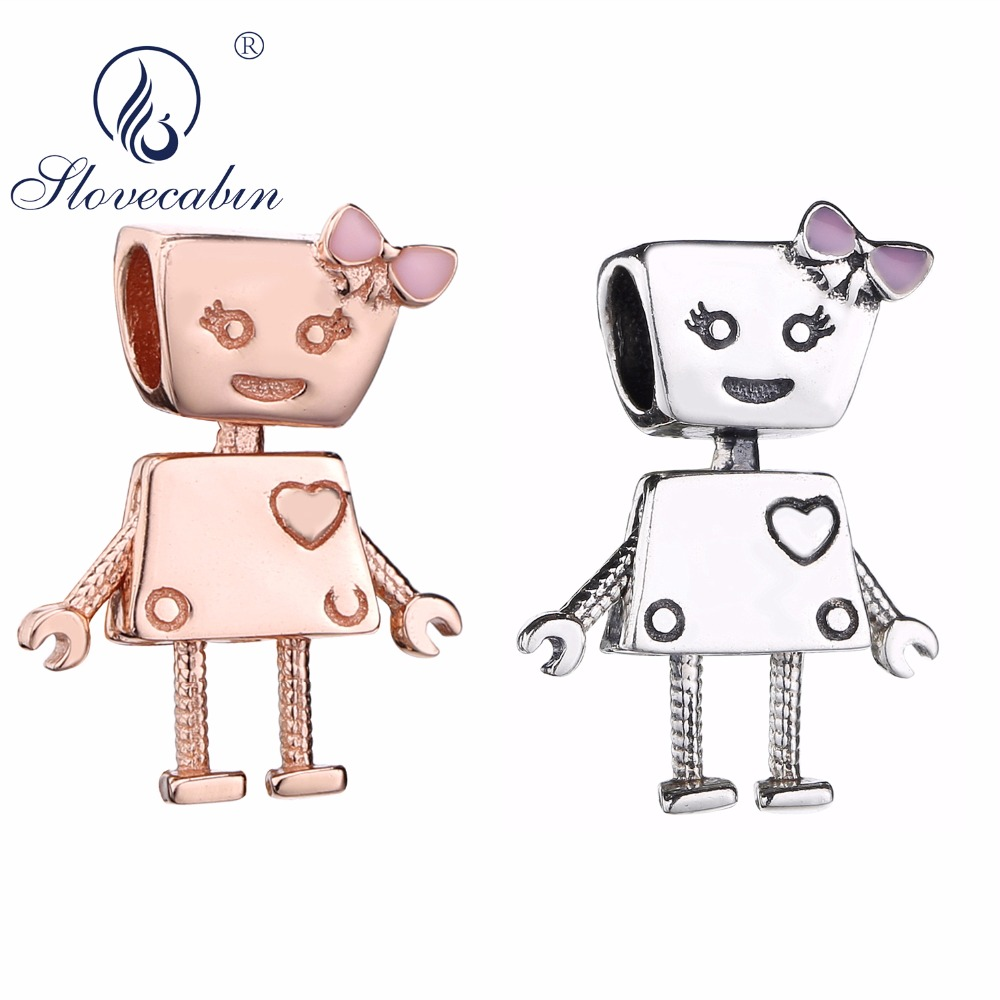 Slovecabin DIY Jewelry Marking Lovely Boy And Girl Robot Love Charm Bead 925 Sterling Silver Bella Bot Pink Enamel Bead 2 Colors