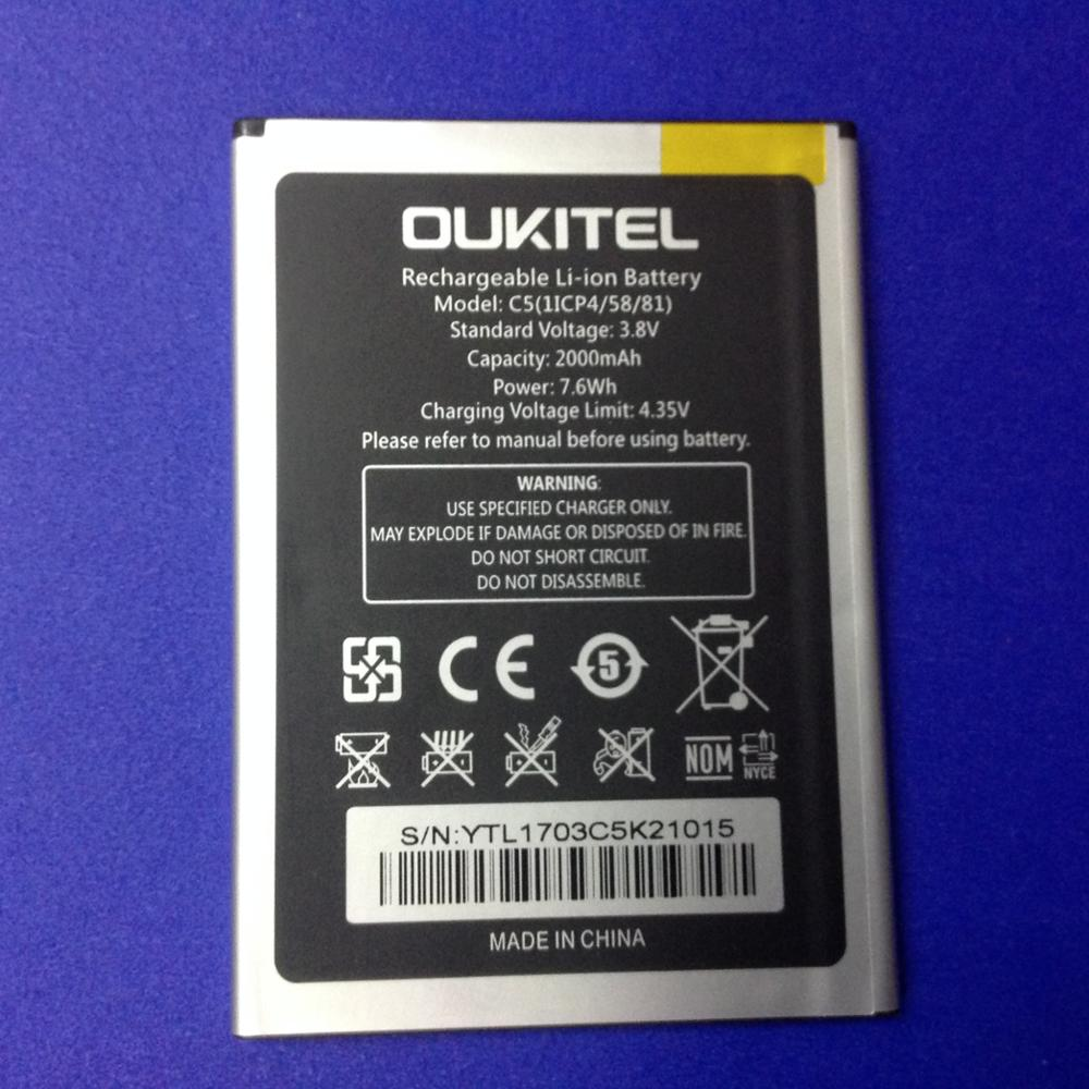 Mobile phone battery OUKITEL C5 battery 2000mAh Original battery High capacit Mobile Accessories OUKITEL phone battery
