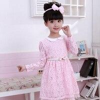 Summer Print Little Girls Dresses 2016 Princess Dress With Bow Belt Baby Girl Clothes Doll Collar