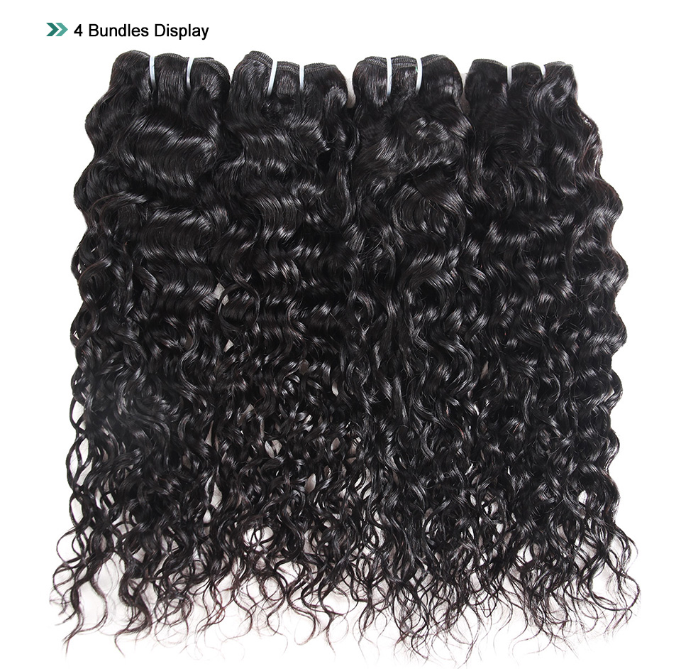 Young Look Water Wave Hair 100% Human Hair Peruvian Non-Remy Hair Extensions Natural Color 8-26 Inch 4 Bundles Weave
