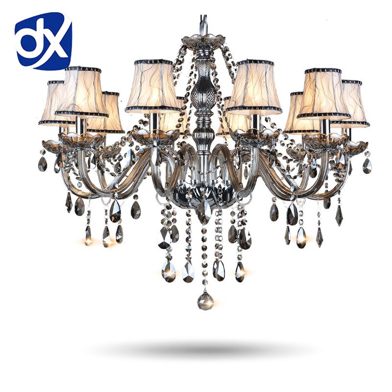hot selling smoked k9 crystal chandelier lustre crystal chandeliers lustres de cristal chandelier e14 led ac lampshades included DX Smoked Crystal Chandelier Lustres Crystal Chandeliers Lustres De Cristal Chandelier Lighting LED Without Lampshade