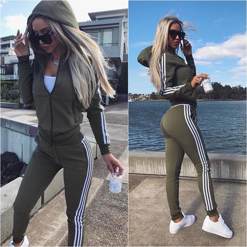 ZP 2019 Tracksuit 2pcs Women Set Suits Female Hoodies Crop Top Sweatshirt Side Stripe Pants Hooded 2 Pieces Sets Women Clothing
