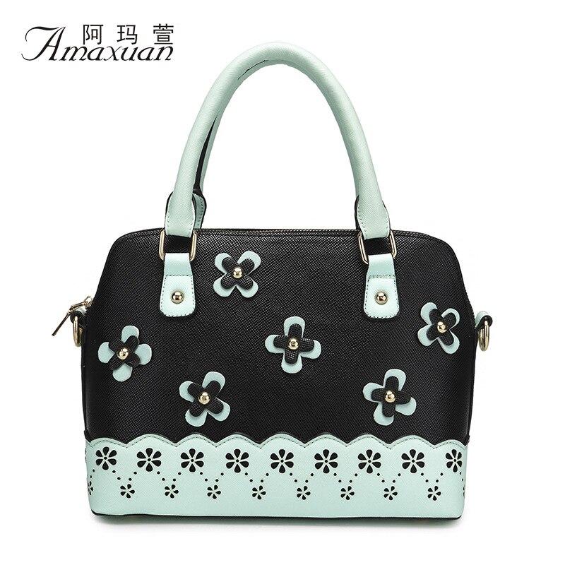 ФОТО New Arrival Women Handbags Appliques Hollow Out Floral Women PU Leather Handbags Shell Women Shoulher Bag Crossbogy Bag BH1175