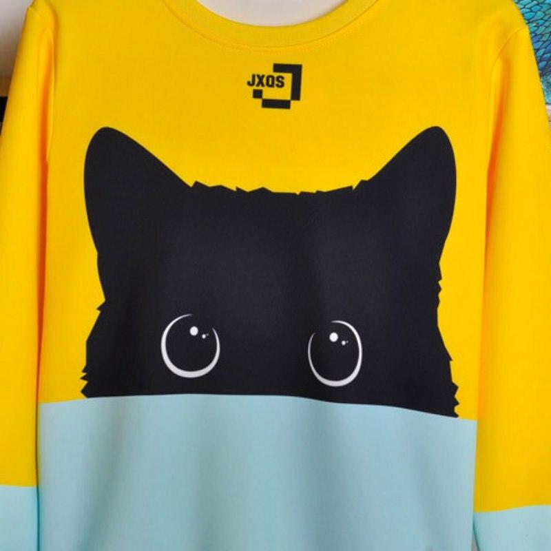 18 Autumn Winter Pullovers Funny Brand Clothin Cute Black Cat Sweatshirt Women Long Sleeve Animal Hoody 2