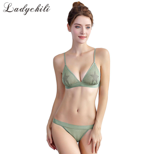 9d86a3552f82e Ladychili Sexy Transparent Star Rhionstone Mesh Underwear Set Ultra Thin  Triangle Cup Bra No Push Up No Underwire Bra Set N341