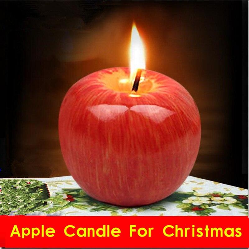 1 stück Weihnachten Apple Obst Kerzen Decor Anzahl Kerze Kunst Kerze ...