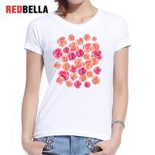 REDBELLA 2017 Women Tops Elegant Vintage Pink Flower Red Rose Irregular Shape Poleras De Mujer Moda Cotton Casual Femme Clothing