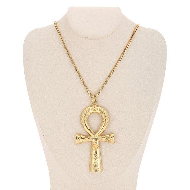 Египетский Анкх ожерелье с крестом ювелирные изделия золотистого