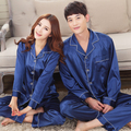 herren\homme\hombre verano\summer blue solid faux silk satin pajamas\pijamas\pyjamas\pigiama sets for mens\uomo\lovers\couples