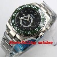 43mm Bliger Stainless Steel Case Black Dial green Ceramic Bezel Luminous Mechanical Mens Wristwatch
