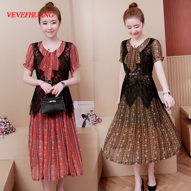 New Summer Women dress Print Short Sleeve Lace Chiffon Long Pleated Two Piece Dresses Red Green