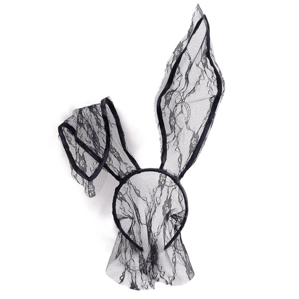 Fashion Style 1 Pc Lace Rabbit Bunny Ears Black Eye Mask Party Head Wear Party Masks For Girl Women