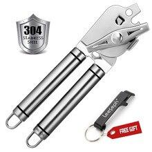 Abrelatas Manual de acero inoxidable 304, seguro para la comida con abrebotellas incorporado