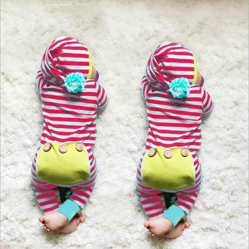 2018 Spring Newborn Infant Romper Baby Clothing Boys Toddler Girl Cotton Jumpsuit Kids Long Sleeve Rompers Stripe Baby Jumpsuit